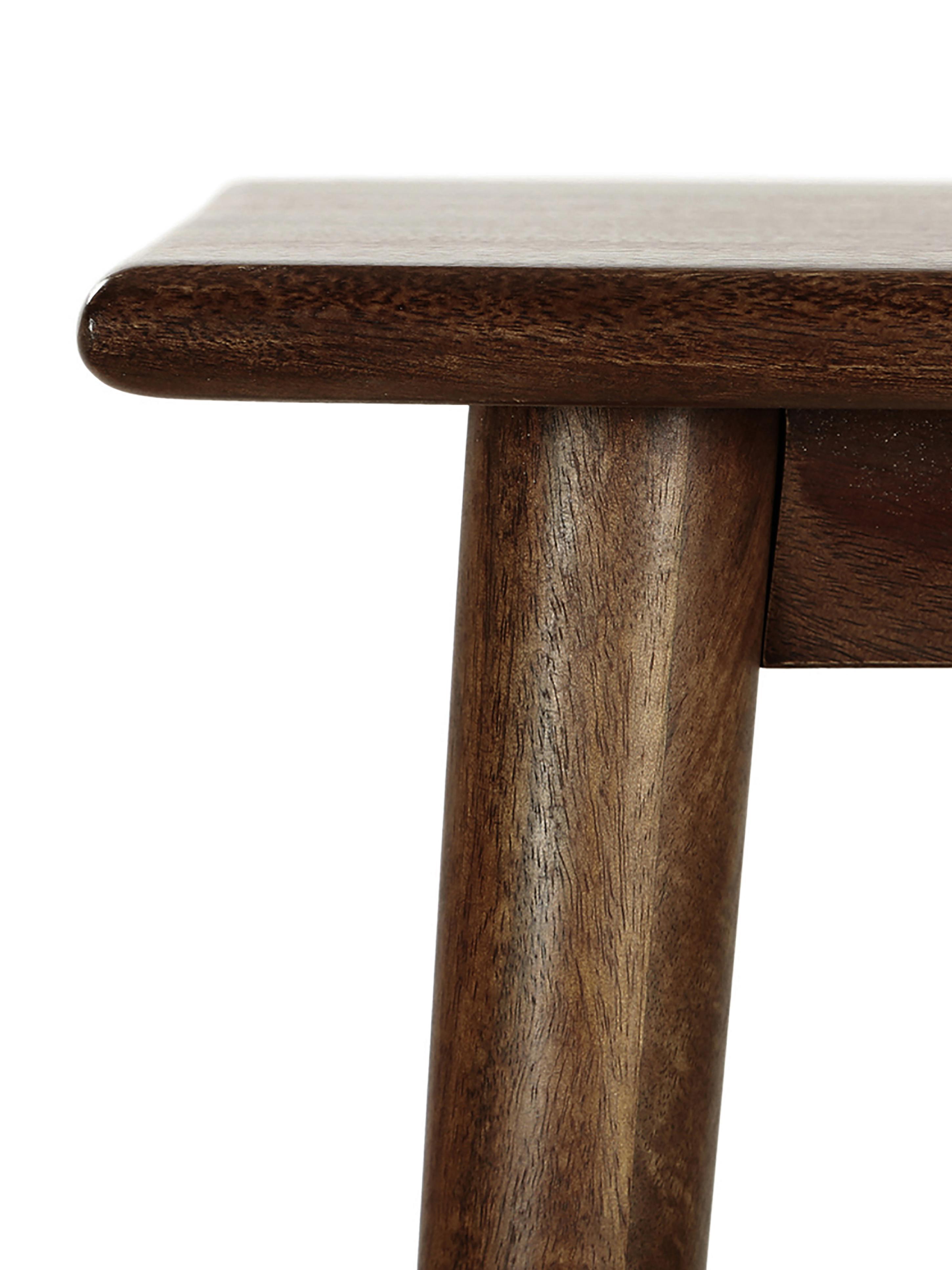 Consolle in legno di mango massiccio Oscar, Legno di mango massiccio, verniciato, Marrone scuro, Larg. 110 x Prof. 40 cm