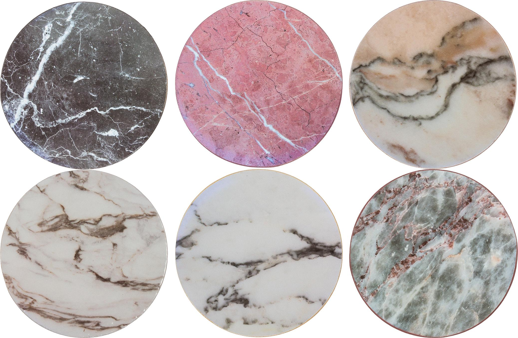 Kurken onderzettersset Cork in marmerlook, 6-delig, Bekleed kurk, Marmeren look, Ø 10 cm