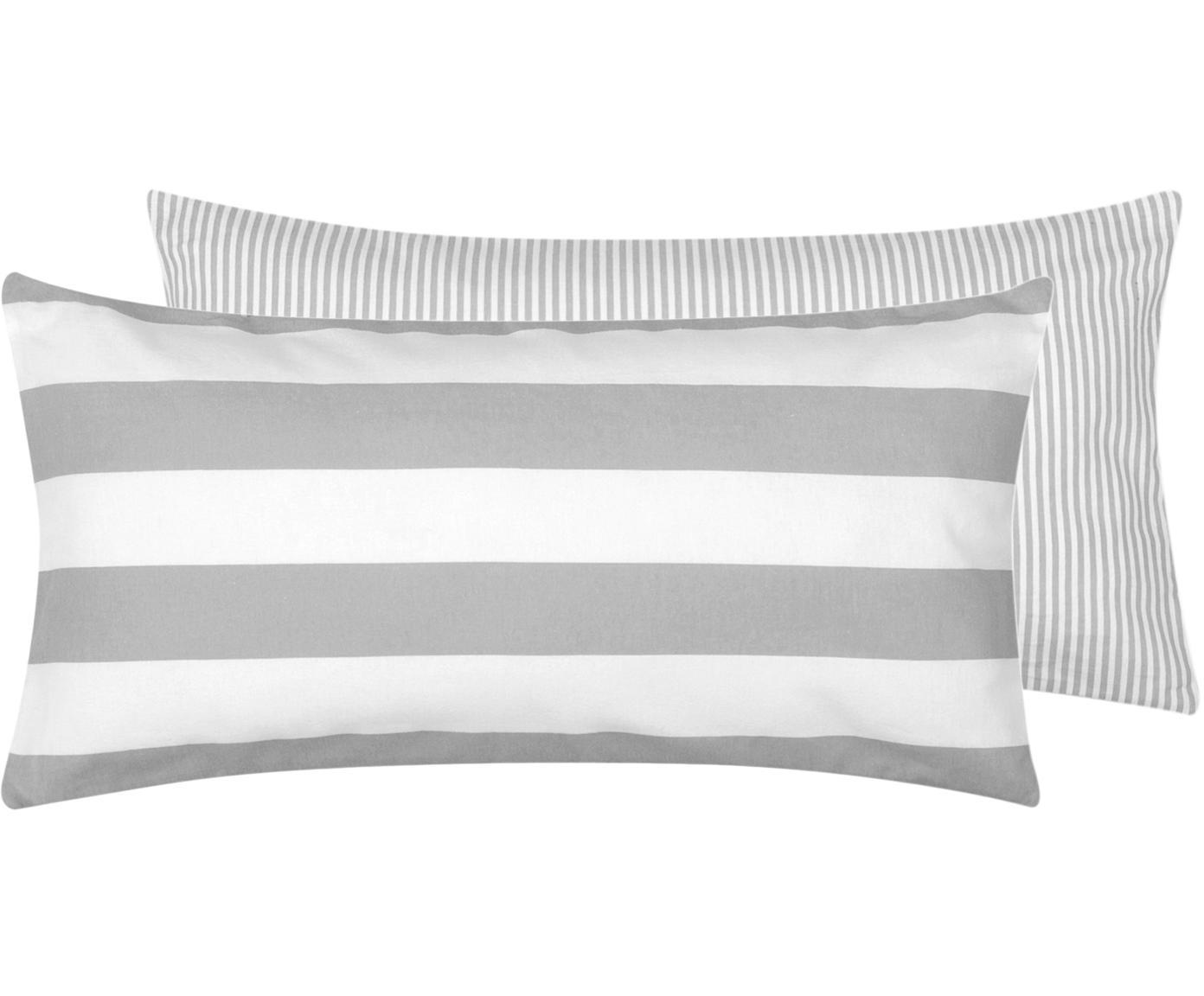 Flanell-Wendekissenbezüge Dora, gestreift, 2 Stück, Webart: Flanell Flanell ist ein s, Weiß, Grau, 40 x 80 cm