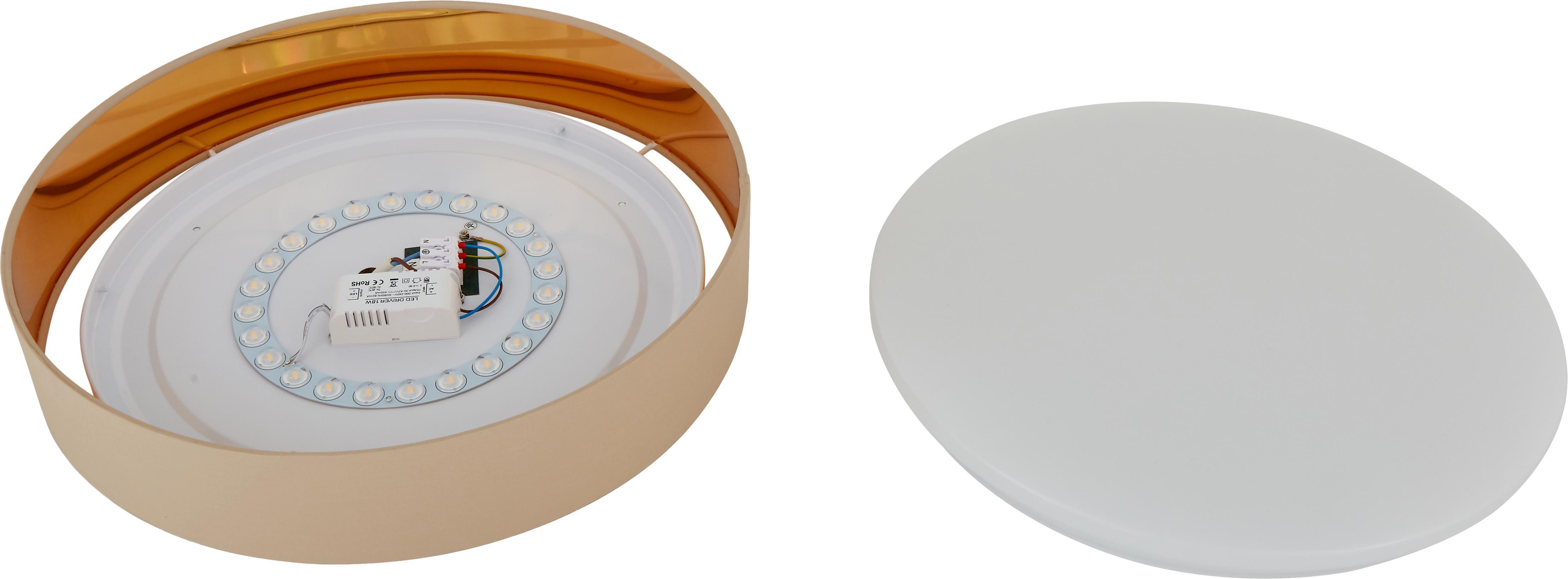 LED-Deckenleuchte Mallory, Rahmen: Metall, Diffusorscheibe: Kunststoff, Taupe, ∅ 41 x H 10 cm