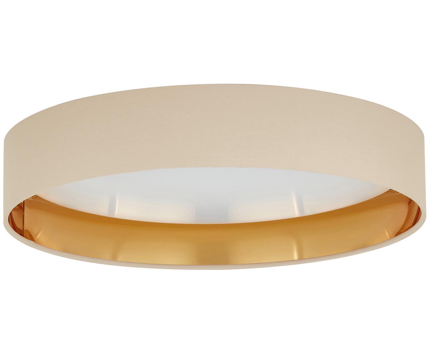 LED plafondlamp Mallory, Frame: metaal, Diffuser: kunststof, Taupe, Ø 41 x H 10 cm