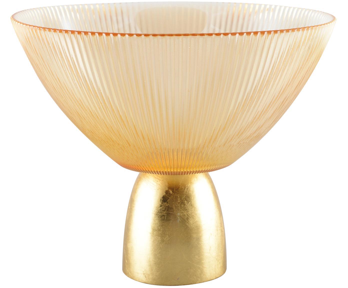 Miska dekoracyjna Luster, Szkło, metal, Odcienie bursztynowego, transparentny, odcienie złotego, Ø 22 cm