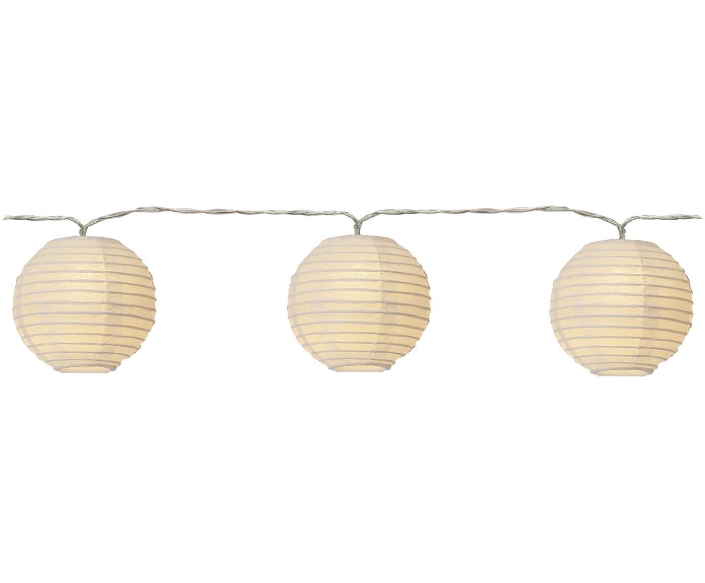 Guirnalda de luces LED Festival, 300cm, Linternas: papel, Cable: plástico, Blanco, L 300 cm