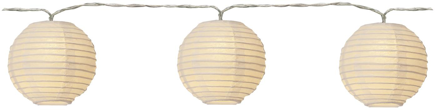 LED Lichterkette Festival, 300 cm, Lampions: Papier, Weiß, L 300 cm