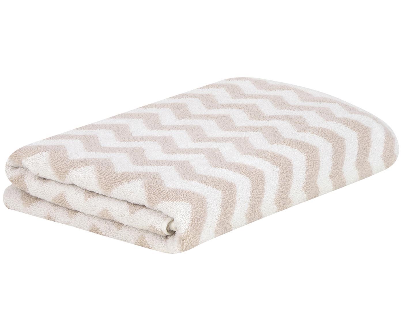 Handdoek Liv met zigzag patroon, 100% katoen, middelzware kwaliteit, 550 g/m², Zandkleurig, crèmewit, Handdoek