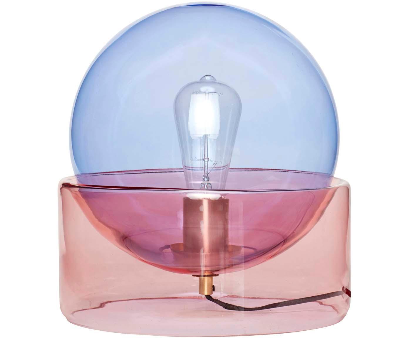 Lampada da tavolo Glondy, Lampada: vetro, Blu, rosa, Ø 27 x Alt. 29 cm