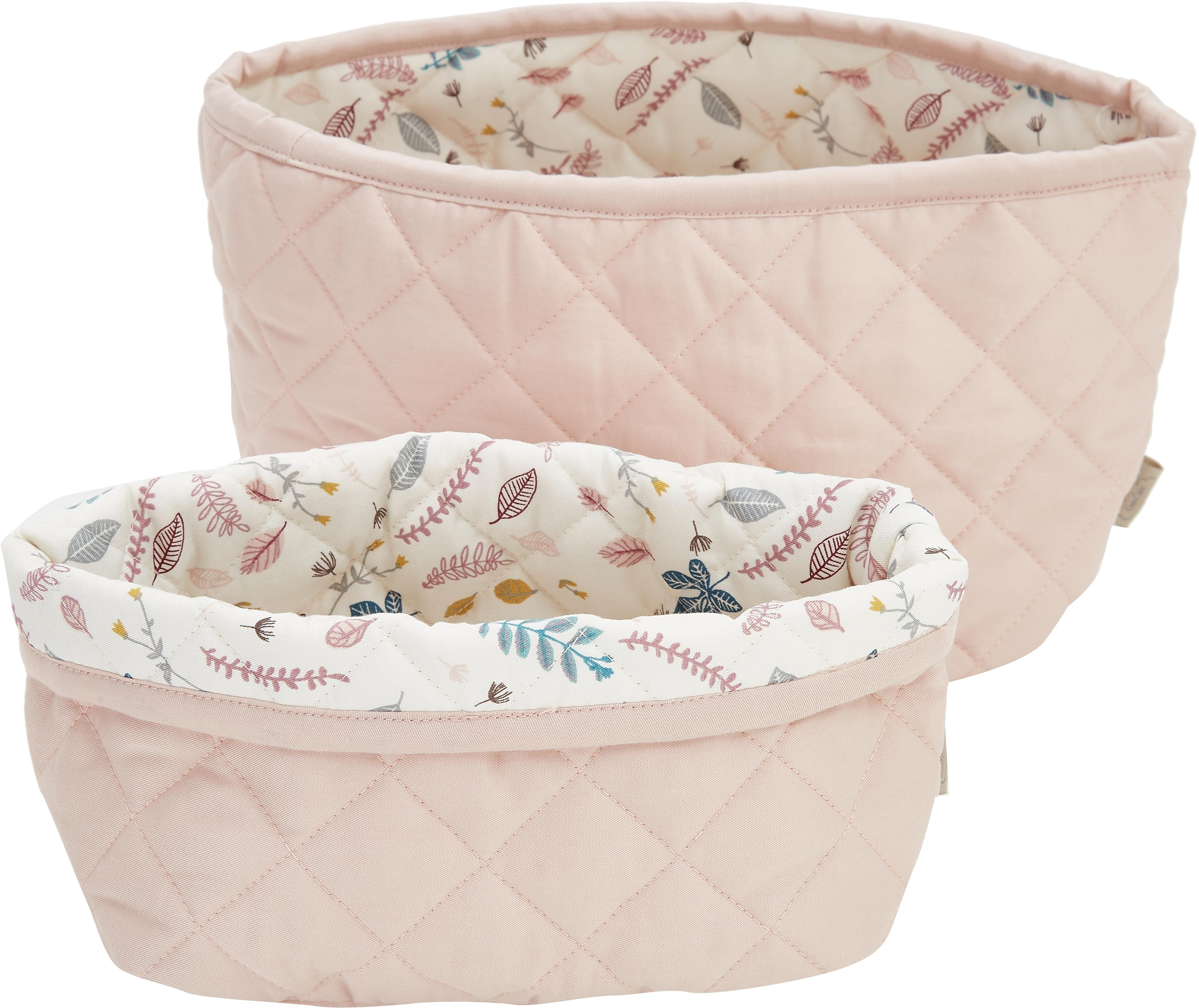 Set de cestas de algodón ecológico Pressed Leaves, 2pzas., Exterior: algodón orgánico, Crema, rosa, azul, gris, Set de diferentes tamaños