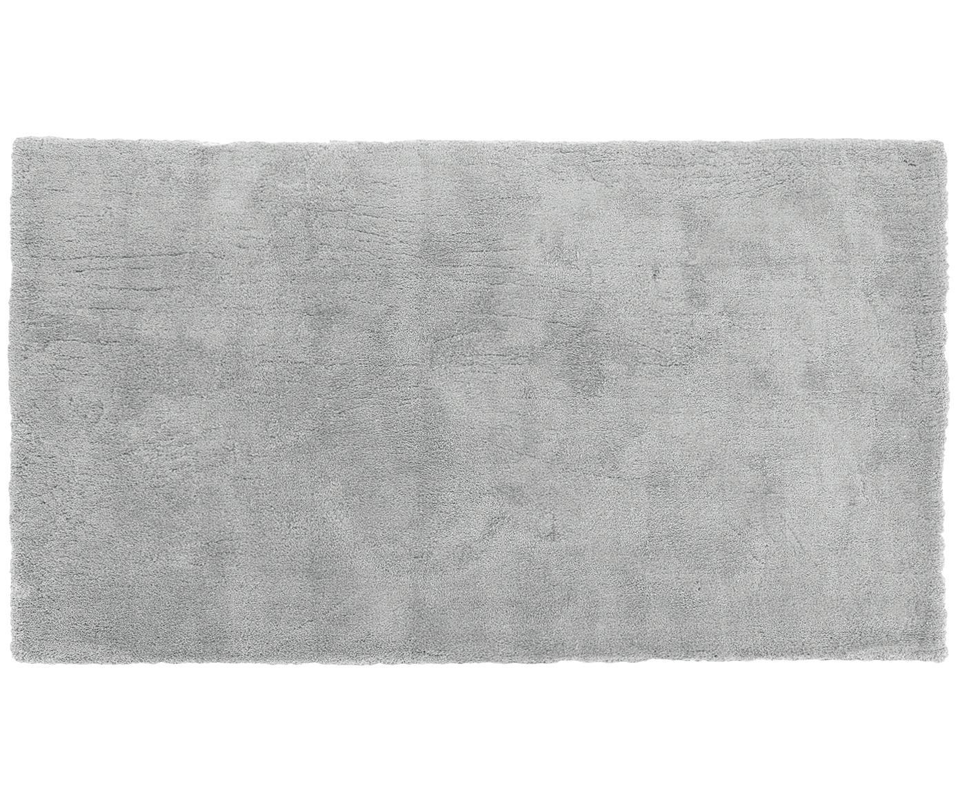 Pluizig hoogpolig vloerkleed Leighton in donkergrijs, Bovenzijde: 100% polyester (microveze, Onderzijde: 100% polyester, Donkergrijs, 80 x 150 cm