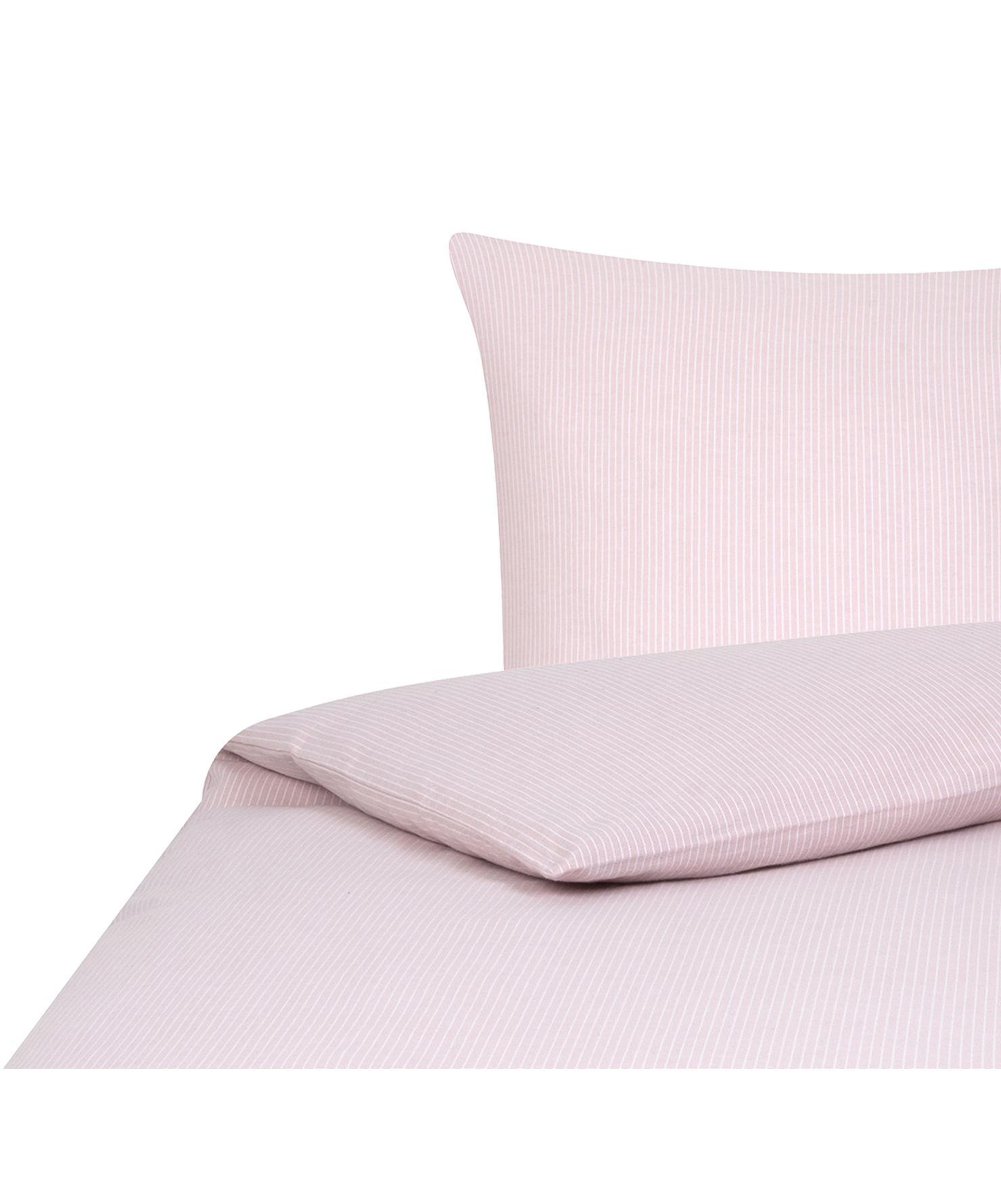 Flanell-Bettwäsche Rae, fein gestreift, Webart: Flanell Flanell ist ein s, Rosa, Weiß, 155 x 220 cm + 1 Kissen 80 x 80 cm