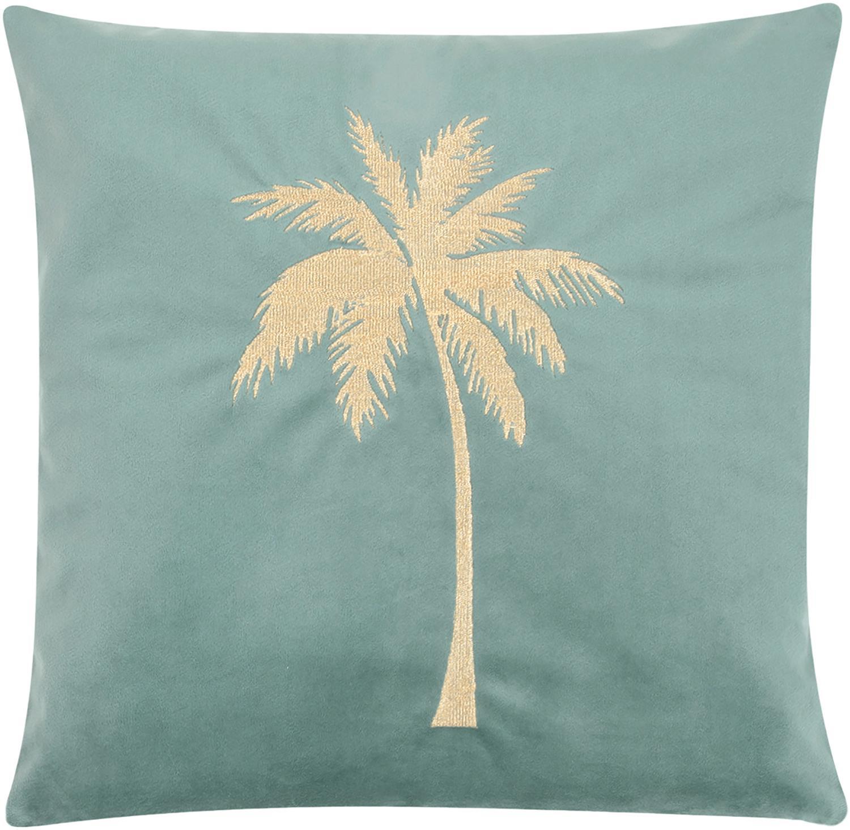 Fluwelen kussenhoes Palmsprings, 100% polyester fluweel, Mint, goudkleurig, 40 x 40 cm