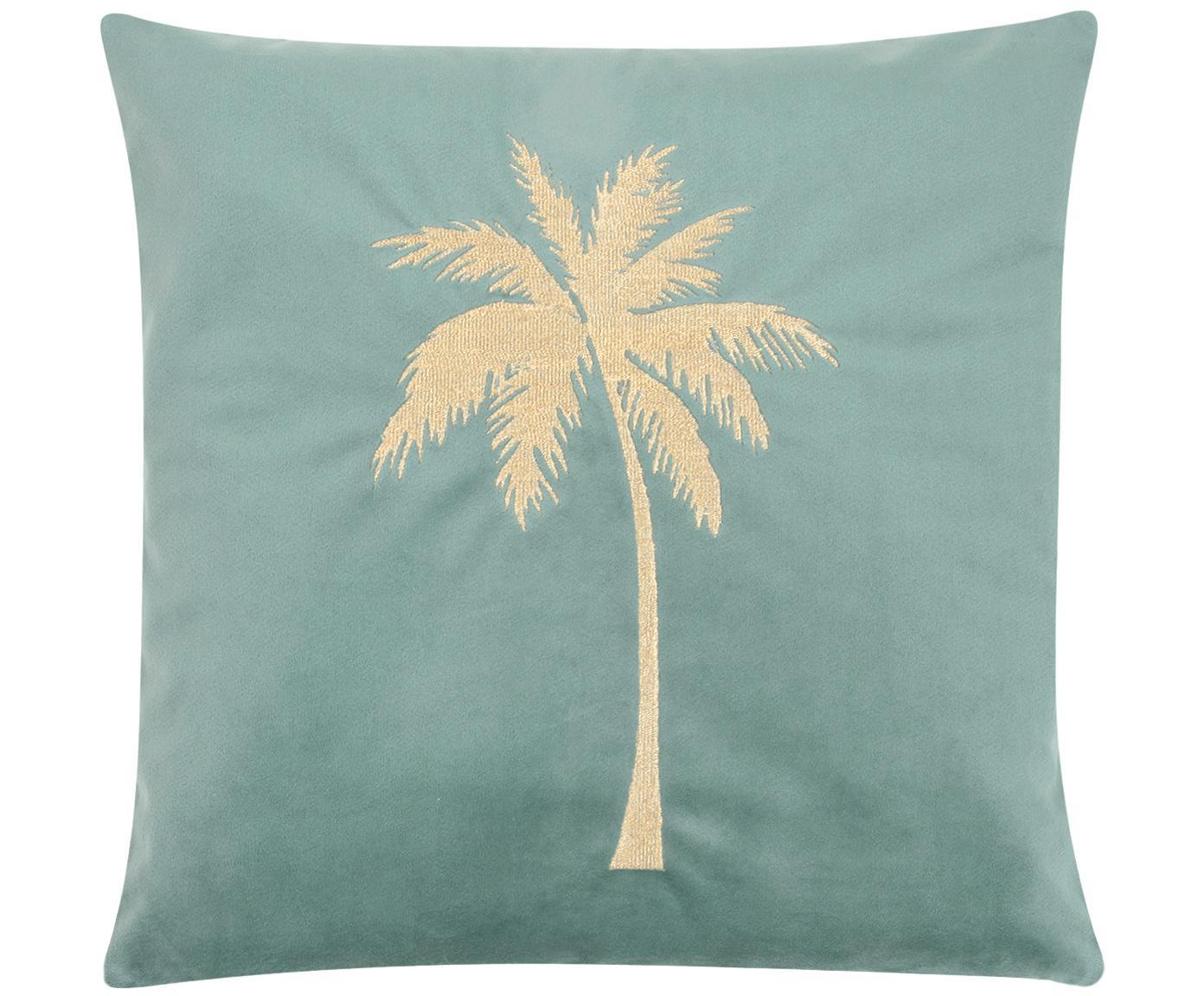 Federa arredo in velluto lucido Palmsprings, Velluto di poliestere, Verde menta, dorato, Larg. 40 x Lung. 40 cm