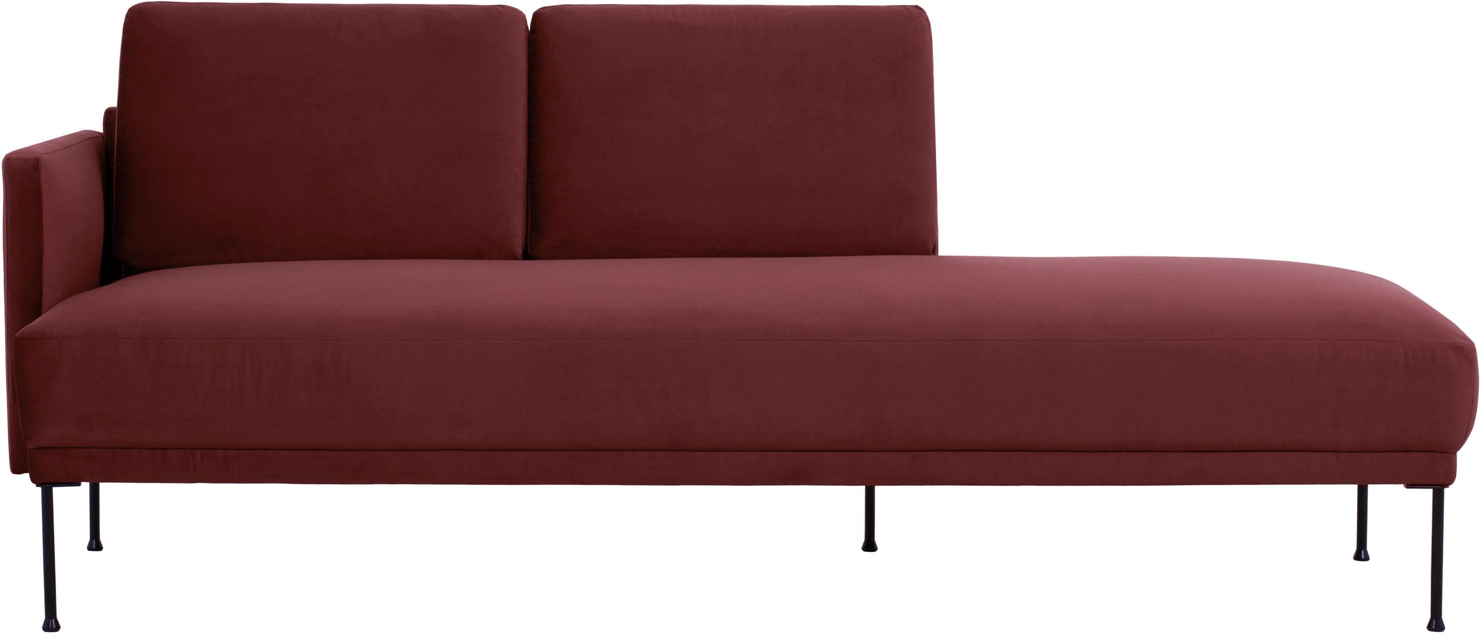 Fluwelen chaise longue Fluente, Bekleding: fluweel (hoogwaardig poly, Frame: massief grenenhout, Poten: gelakt metaal, Bordeauxrood, B 201 x D 83 cm