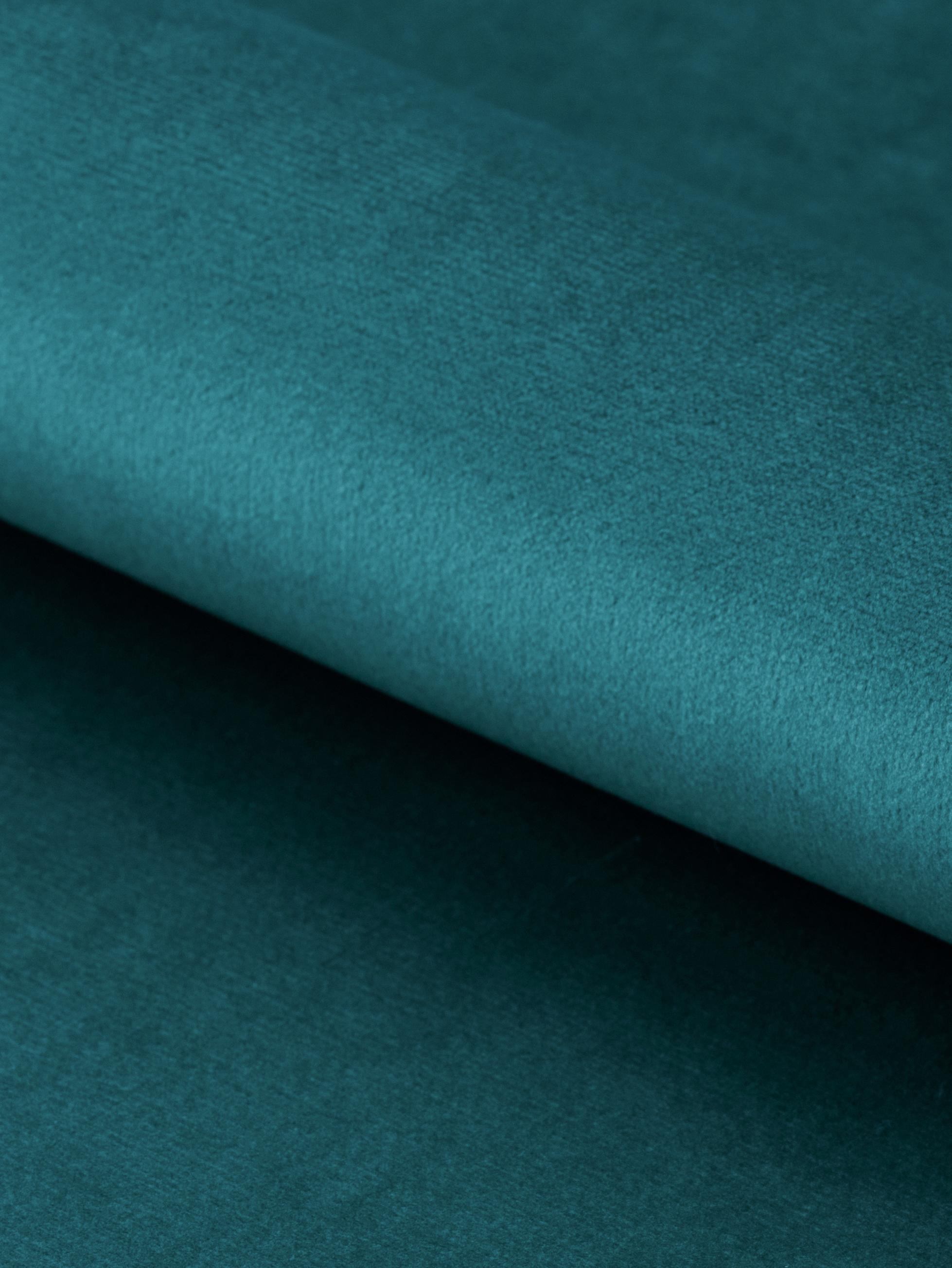 Samt-Polsterstuhl Emilia mit Armlehne, Bezug: Polyestersamt 25.000 Sche, Beine: Metall, lackiert, Samt Blau, Beine Schwarz, B 57 x T 59 cm