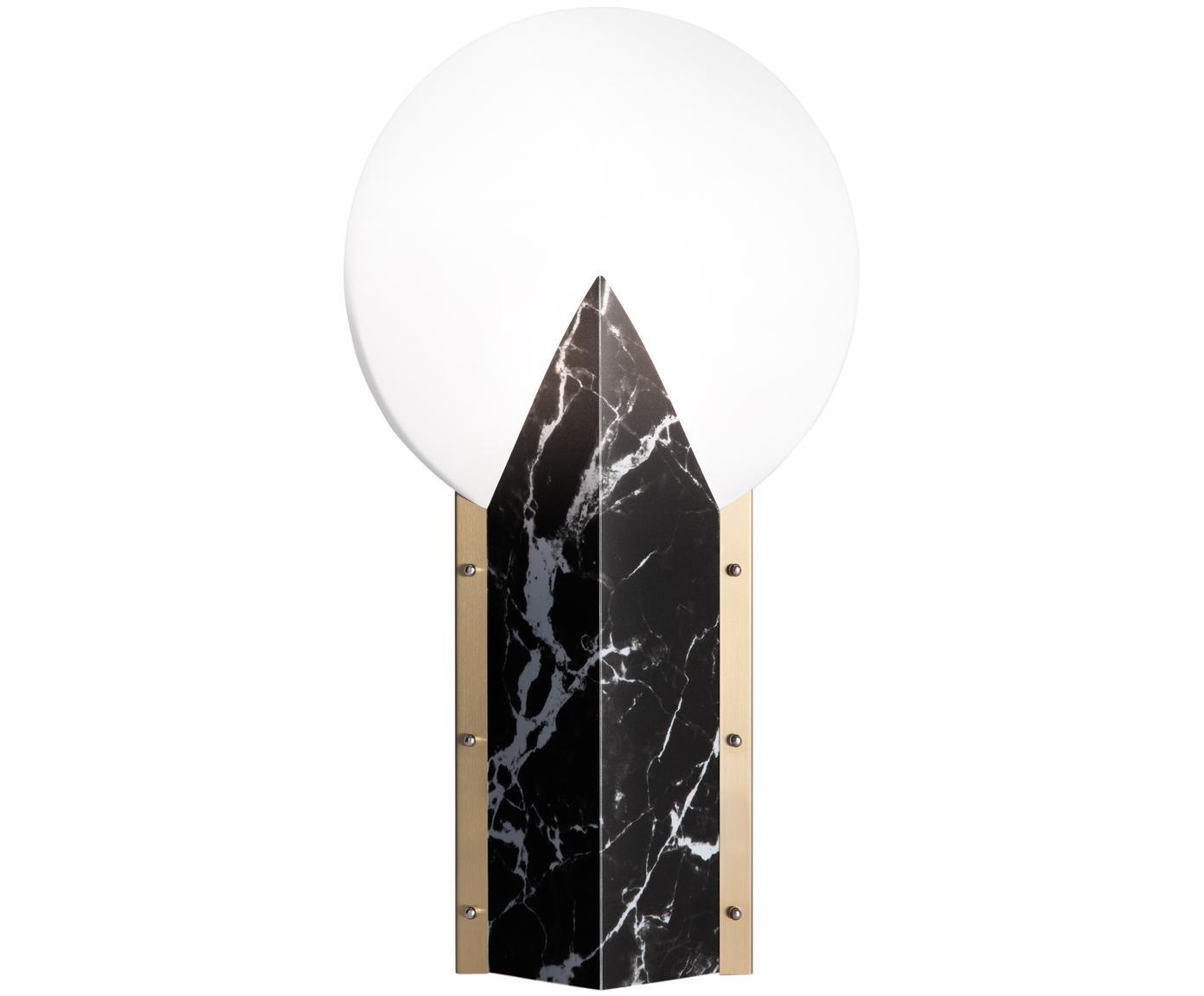 Design tafellamp Moon, Lampenkap: technopolymeer Opalflex®,, Lampvoet: gecoat aluminium, Rand: geborsteld messing, Wit, zwart, 30 x 57 cm