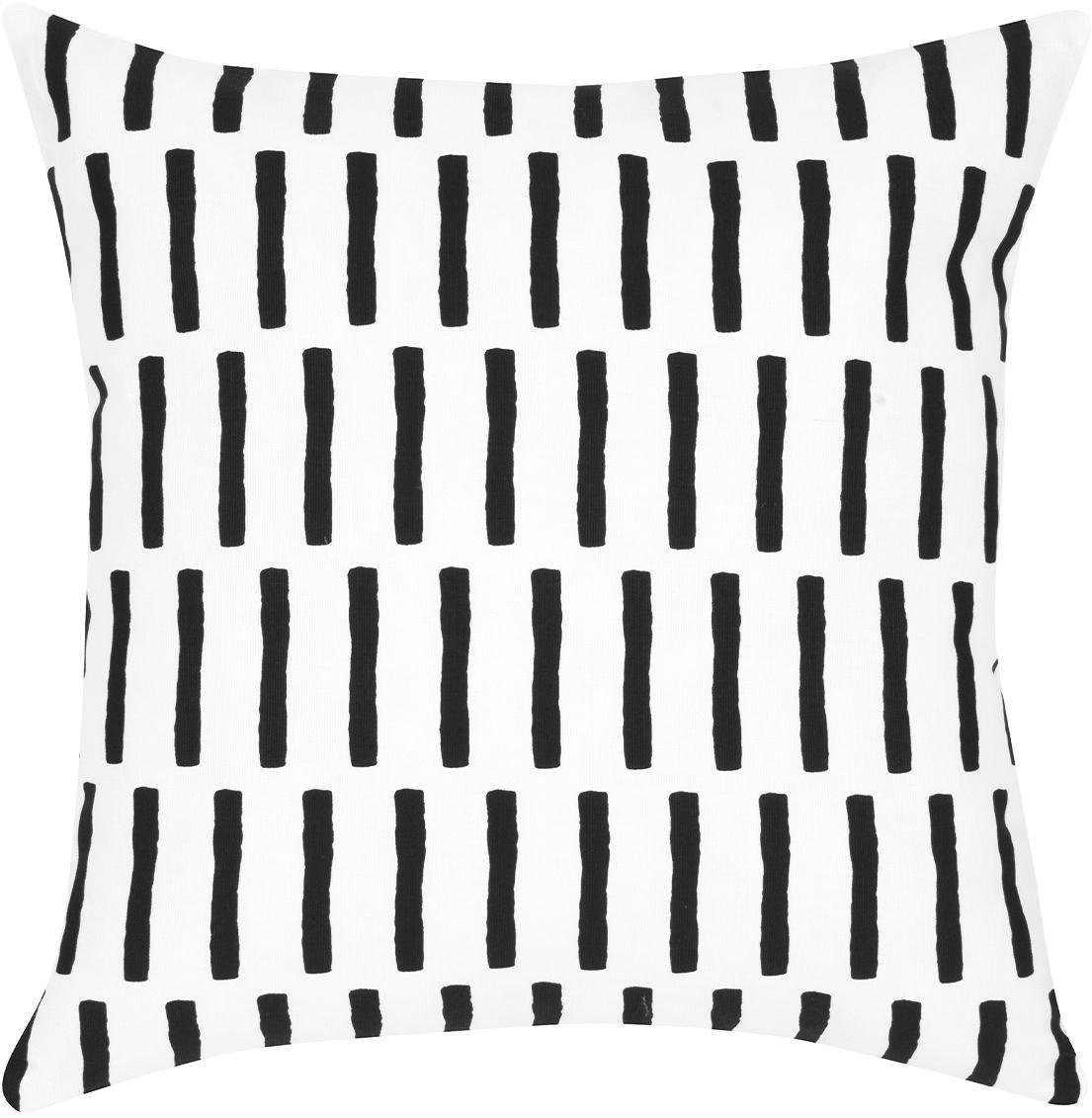 Funda de cojín Jerry, Algodón, Negro, blanco, An 40 x L 40 cm