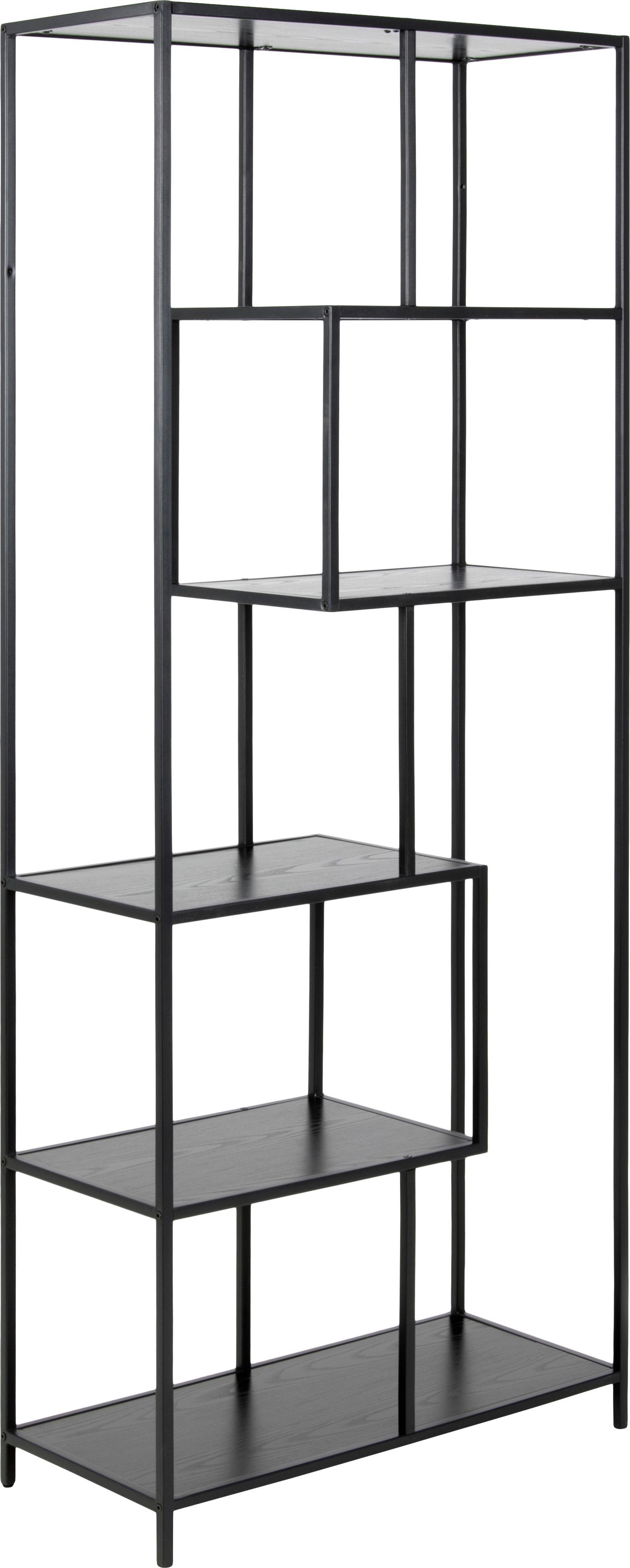Libreria in legno e metallo Seaford Zig, Ripiani: pannello di fibra a media, Struttura: metallo verniciato a polv, Nero, Larg. 77 x Alt. 185 cm
