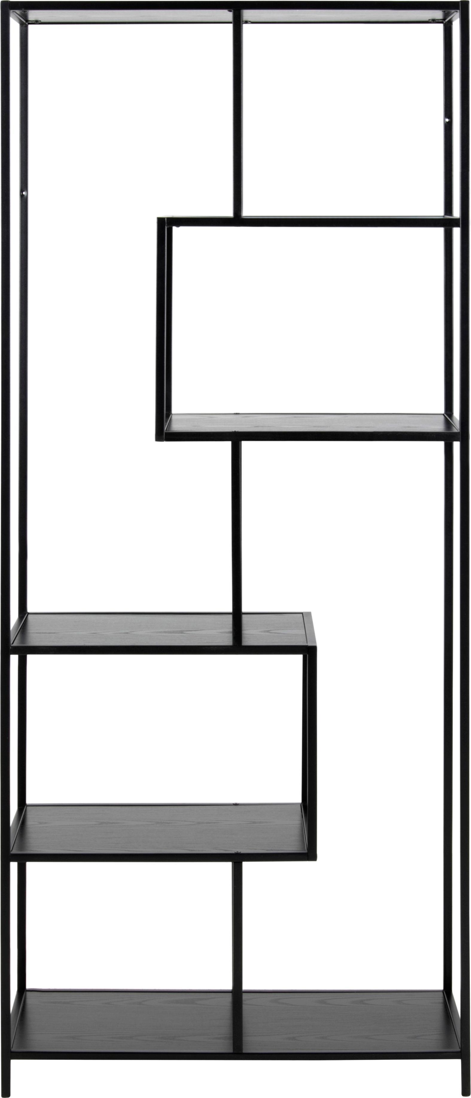 Standregal Seaford Zig aus Holz und Metall, Einlegeböden: Mitteldichte Holzfaserpla, Gestell: Metall, pulverbeschichtet, Schwarz, 77 x 185 cm