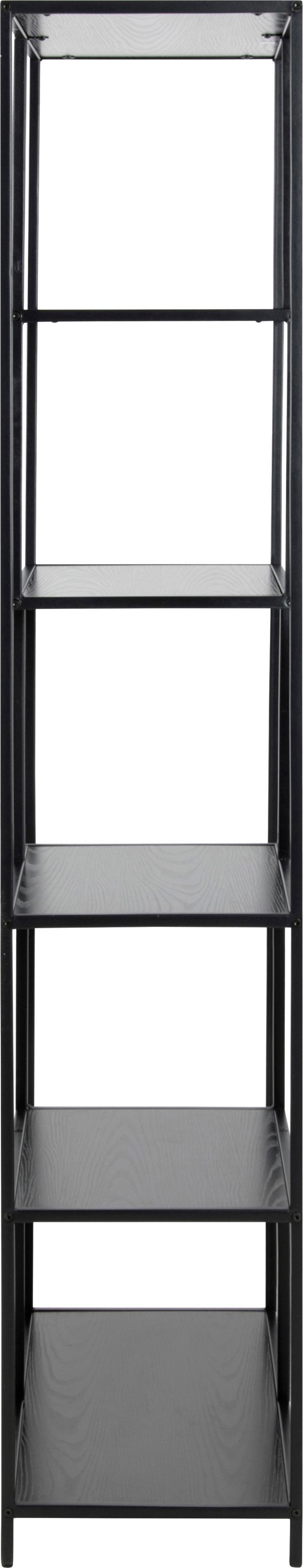 Regał z drewna i metalu Seaford Zig, Stelaż: metal malowany proszkowo, Czarny, S 77 x W 185 cm