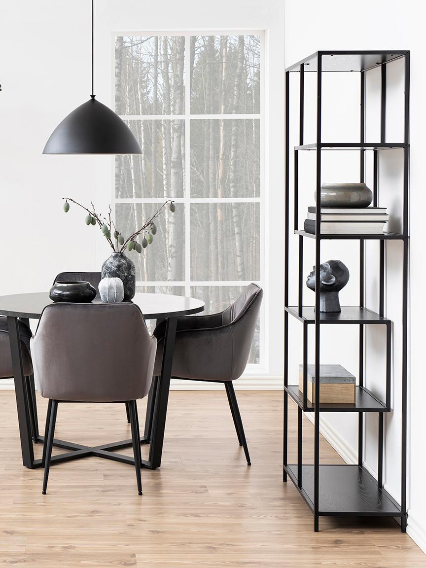 Étagère en bois et métal Seaford, Noir