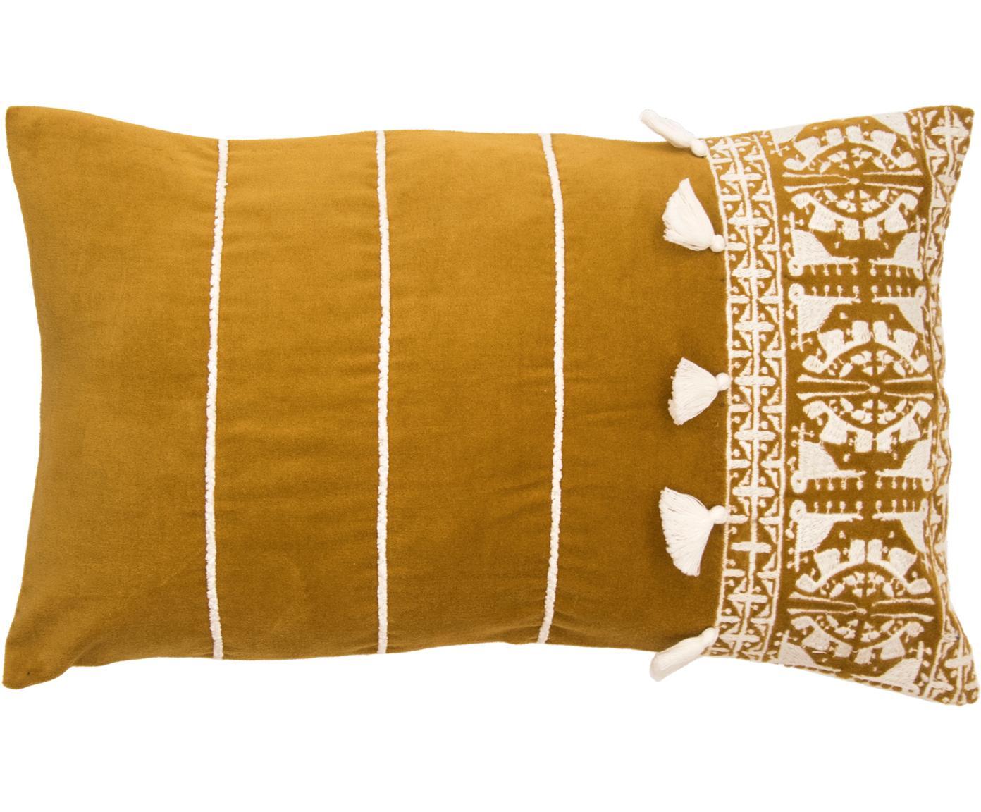 Federa arredo con ricamo e nappe Neo Berbère, 50% cotone, 50% poliestere, Giallo, bianco, Larg. 30 x Alt. 50 cm