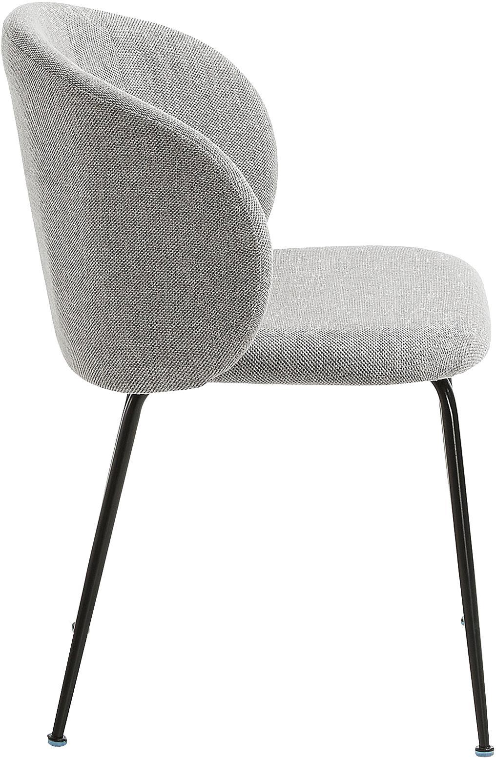 Polsterstühle Minna, 2 Stück, Sitzfläche: Textil, Gestell: Metall, lackiert, Hellgrau, Schwarz, B 57 x T 56 cm