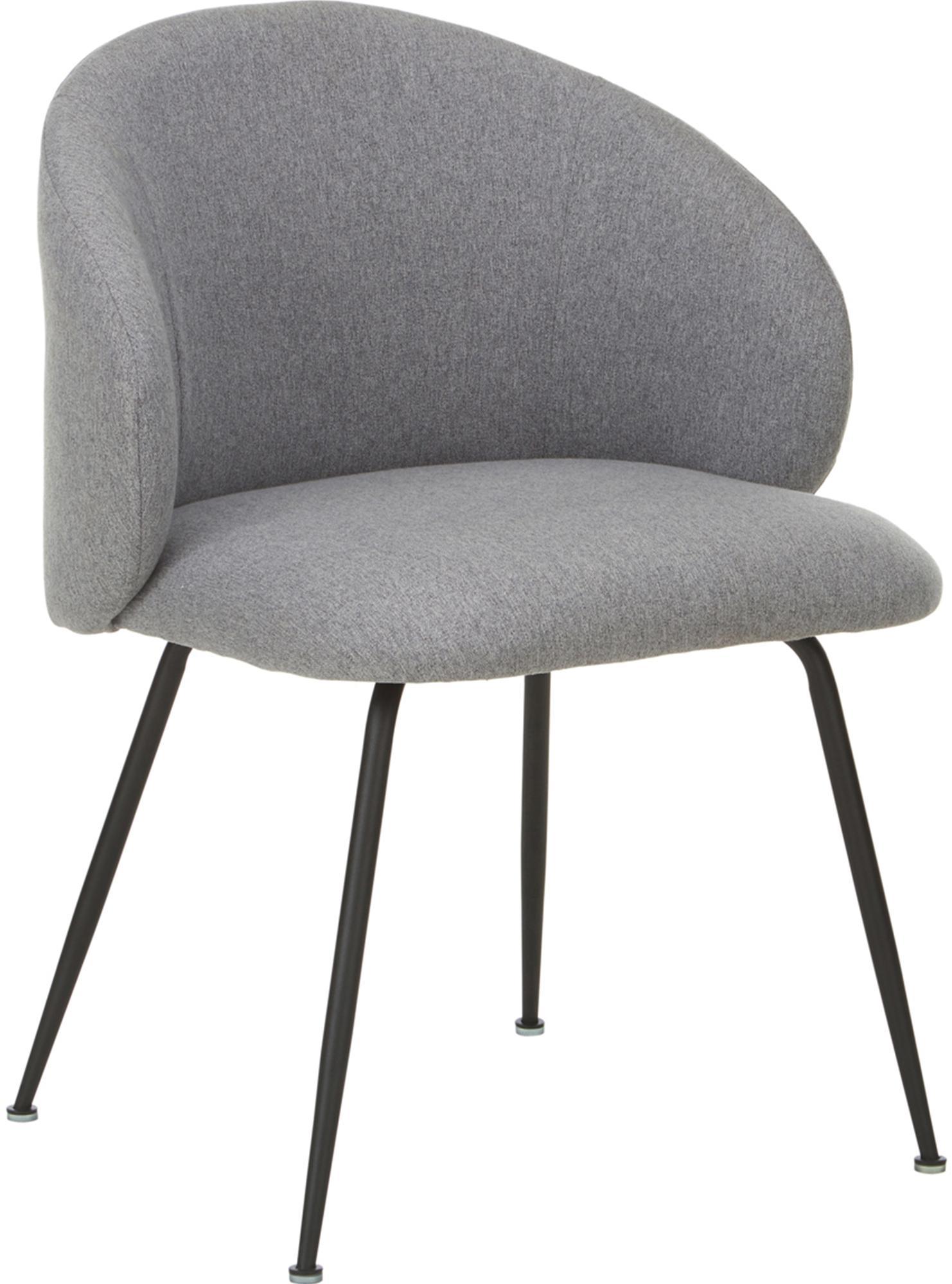 Sedia imbottita Minna 2 pz, Seduta: tessuto, Struttura: metallo verniciato, Grigio chiaro, nero, Larg. 57 x Prof. 56 cm
