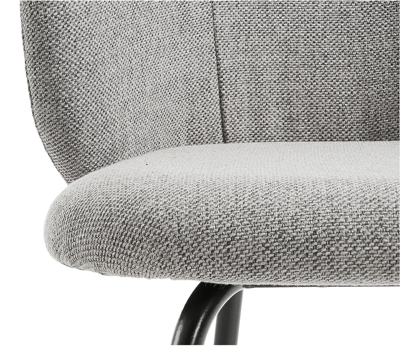 Krzesło tapicerowane Minna, 2 szt., Stelaż: metal lakierowany, Jasny szary, czarny, S 57 x G 56 cm