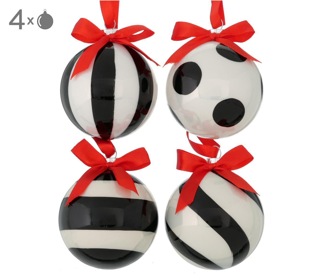 Weihnachtskugel-Set Geoma, 4-tlg., Schwarz, Weiß, Rot, Ø 8 cm