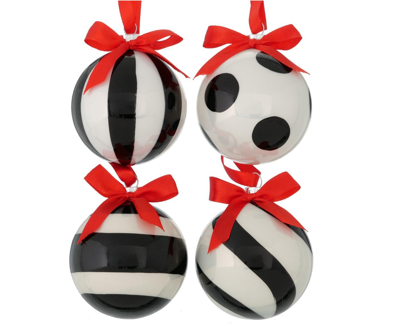 Kerstballenset Geoma, 4-delig, Zwart, wit, rood, Ø 8 cm