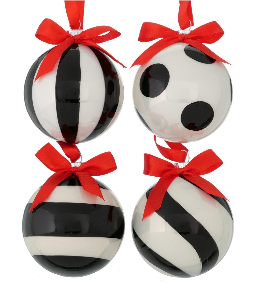 Set de bolas de Navidad Geoma, 4pzas., Negro, blanco, rojo, Ø 8 cm