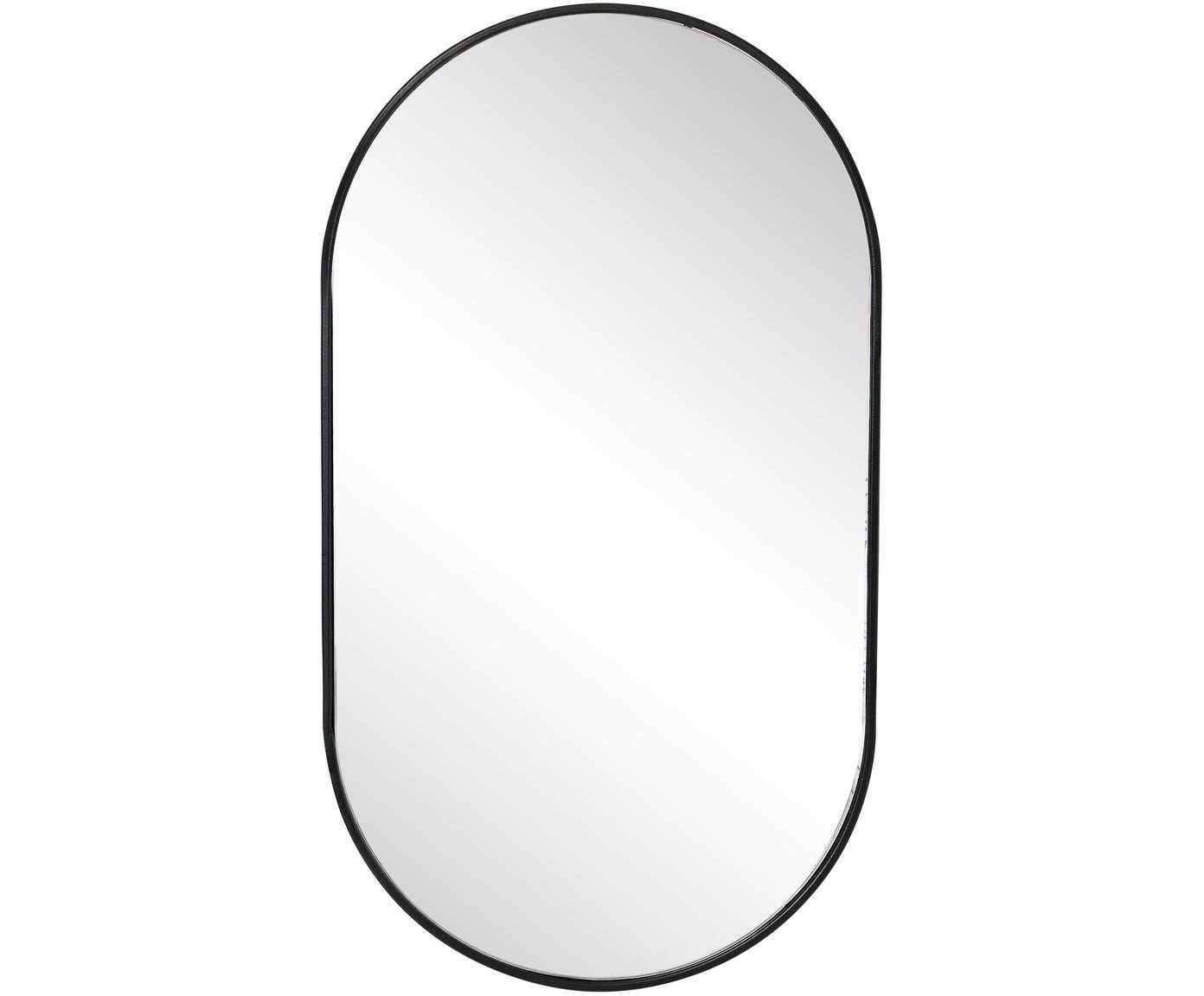 Specchio da parete con cornice in metallo Pelle, Cornice: metallo rivestito, Superficie dello specchio: lastra di vetro, Nero, Larg. 33 x Alt. 66 cm