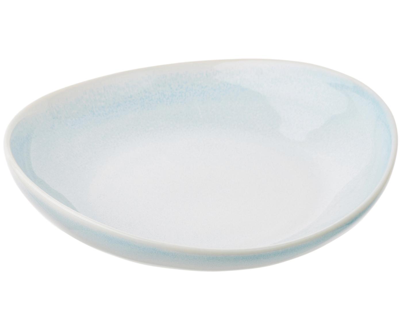 Handgemachte Suppenteller Amalia mit effektvoller Glasur, 2 Stück, Porzellan, Hellblau, Cremeweiss, Ø 20 cm