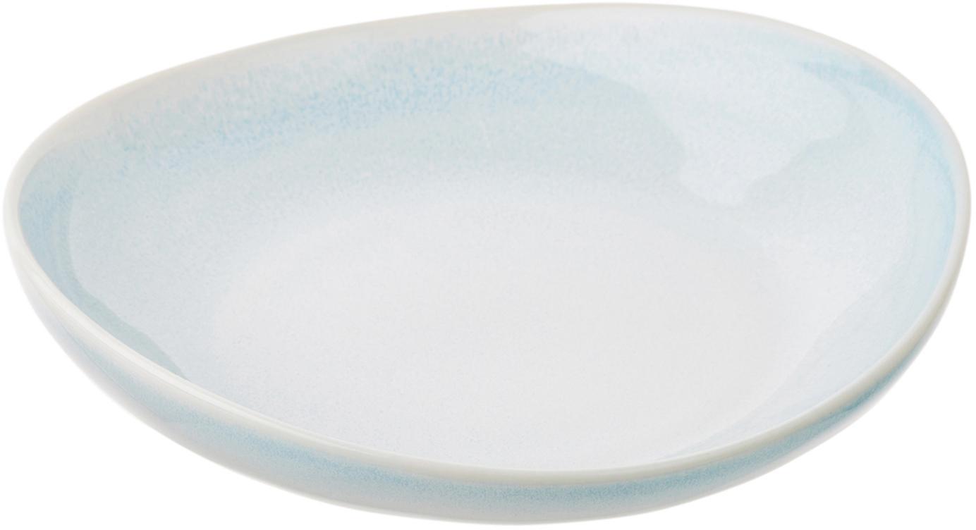 Piatto fondo fatto a mano Amalia 2 pz, Ceramica, Azzurro, bianco crema, Ø 20 cm