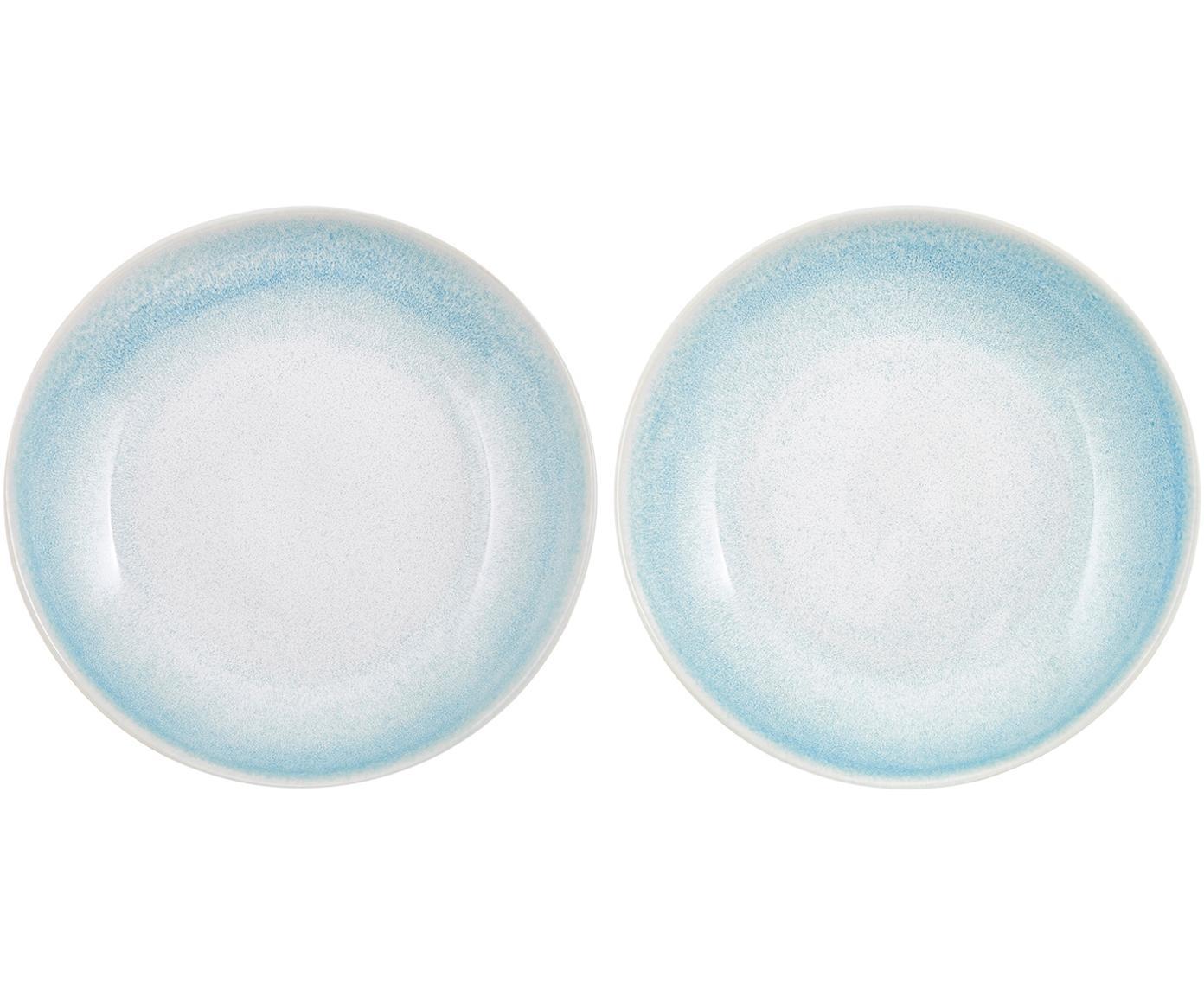 Handgemachte Suppenteller Amalia, 2 Stück, Porzellan, Hellblau, Cremeweiß, Ø 20 cm