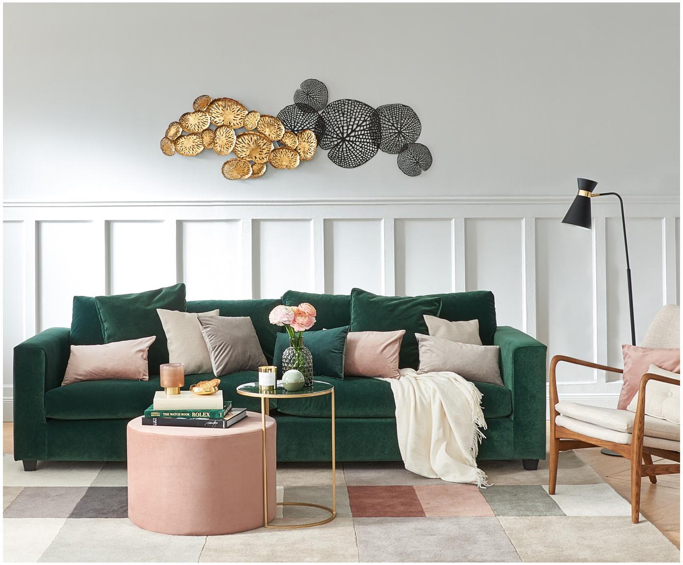 Samt-Sofa Linda (3-Sitzer), Bezug: Polyester (Samt) 47.000 S, Rahmen: Spanholz, Massivholz, Beine: Kunststoff, lackiert, Bezug: Grün<br>Beine: Schwarz, 261 x 83 cm