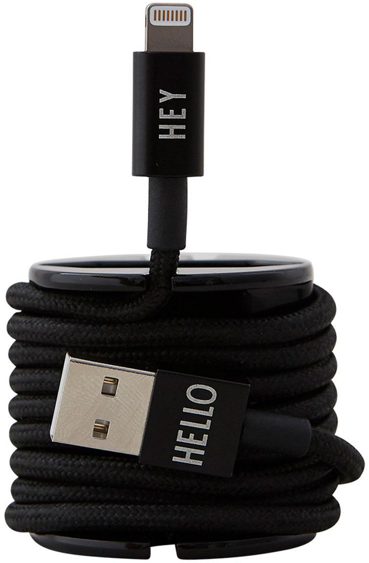 Cable Lightning MyCable, Cubierto en tela, Negro, L 100 cm