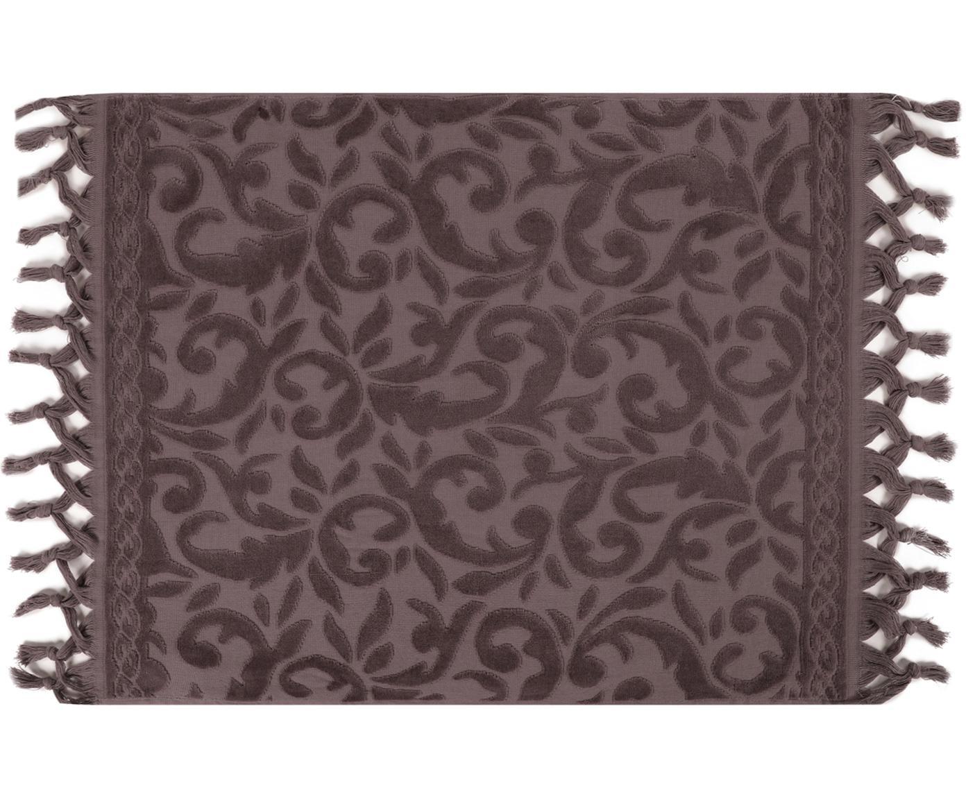 Tappeto bagno con motivo paisley in velluto Caroline, Cotone, Grigio, Larg. 50 x Lung. 70 cm