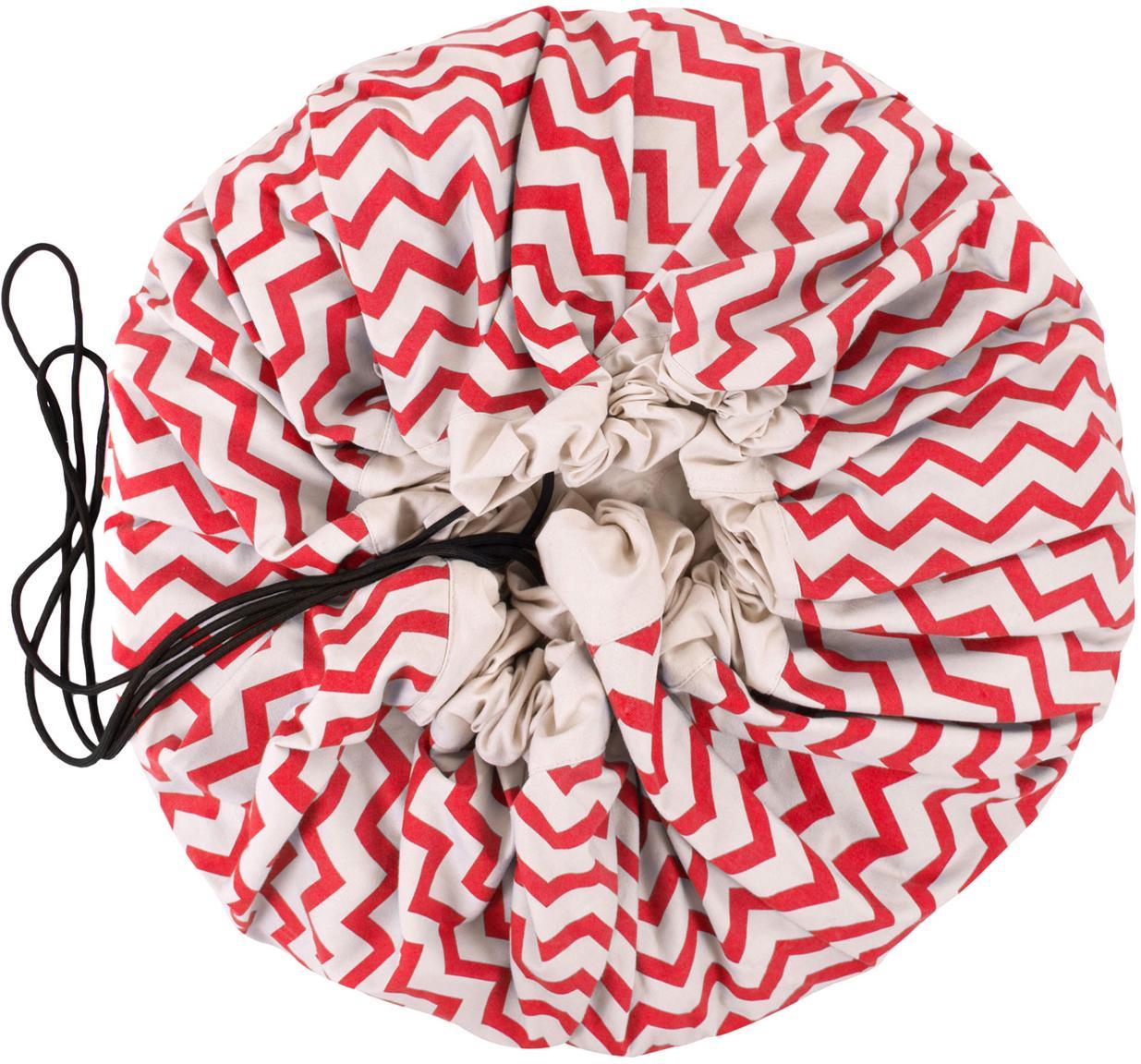 Spieldecke Zigzag, Polyester, Rot, Weiss, Ø 140 cm