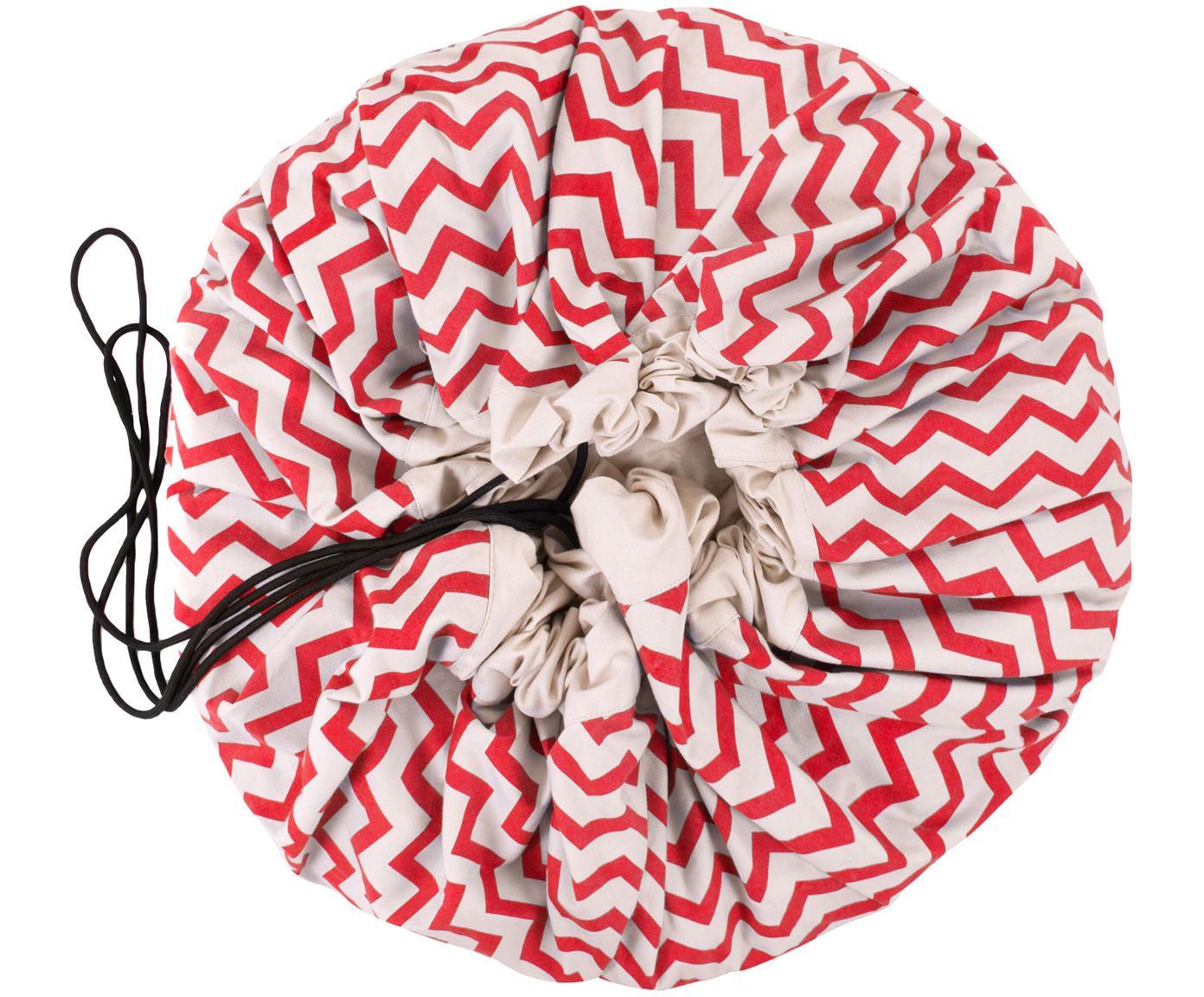 Manta de juegos Zigzag, Poliéster, Rojo, blanco, Ø 140 cm