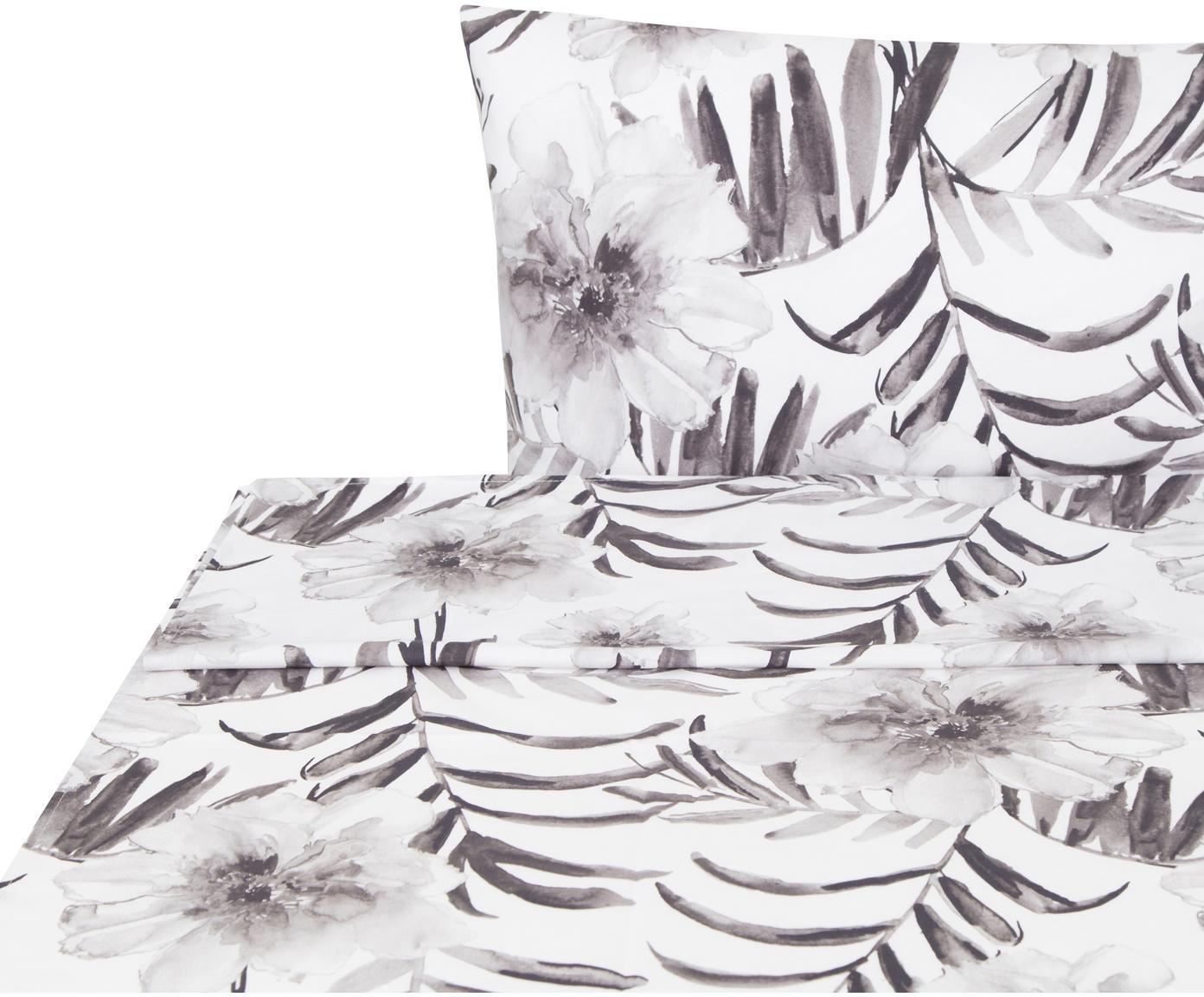 Sábana encimera Zenda, Algodón, Blanco, negro, gris claro, Cama 90 cm (160 x 270 cm)