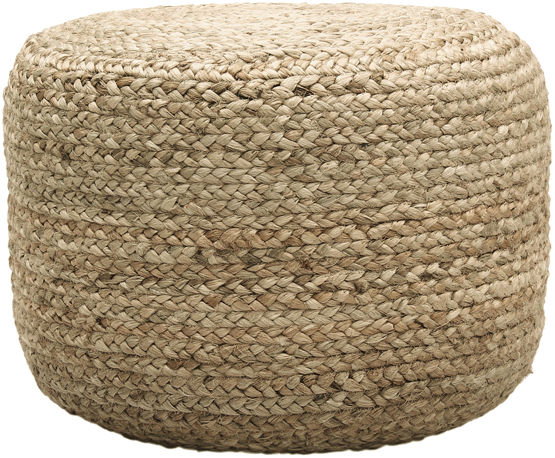 Ręcznie wykonany puf boho Bono, Tapicerka: juta, Beżowy, Ø 50 x W 36 cm