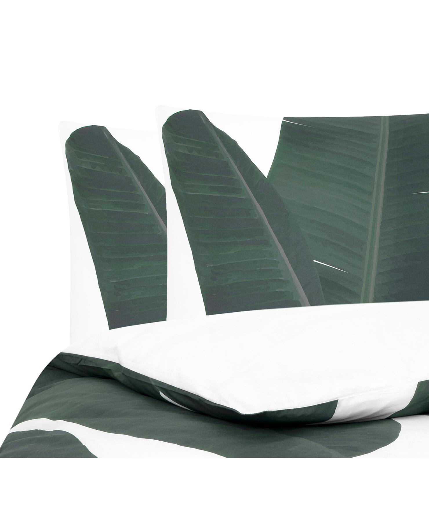 Baumwollperkal-Bettwäsche Banana mit Blattmotiv, Webart: Perkal Fadendichte 180 TC, Vorderseite: GrüntöneRückseite: Weiß, Uni, 200 x 200 cm + 2 Kissen 80 x 80 cm