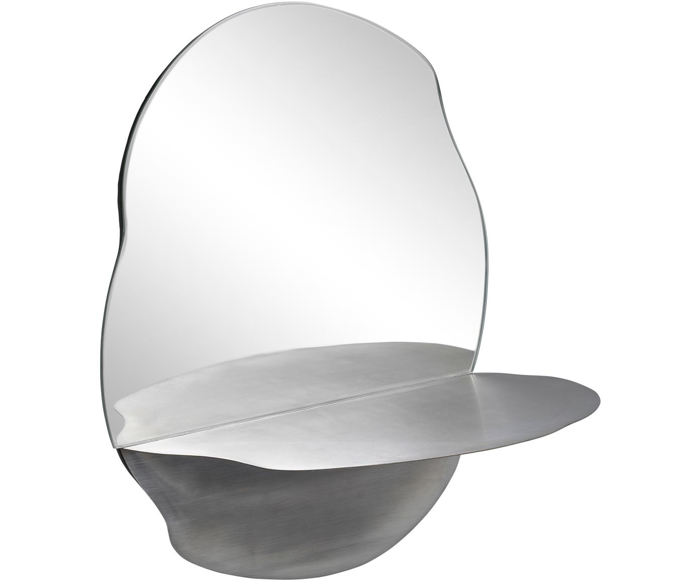 Specchio da parete con mensola Vilja, Superficie dello specchio: lastra di vetro, Mensola: metallo ossidato, Metallo opaco, Larg. 31 x Alt. 40 cm