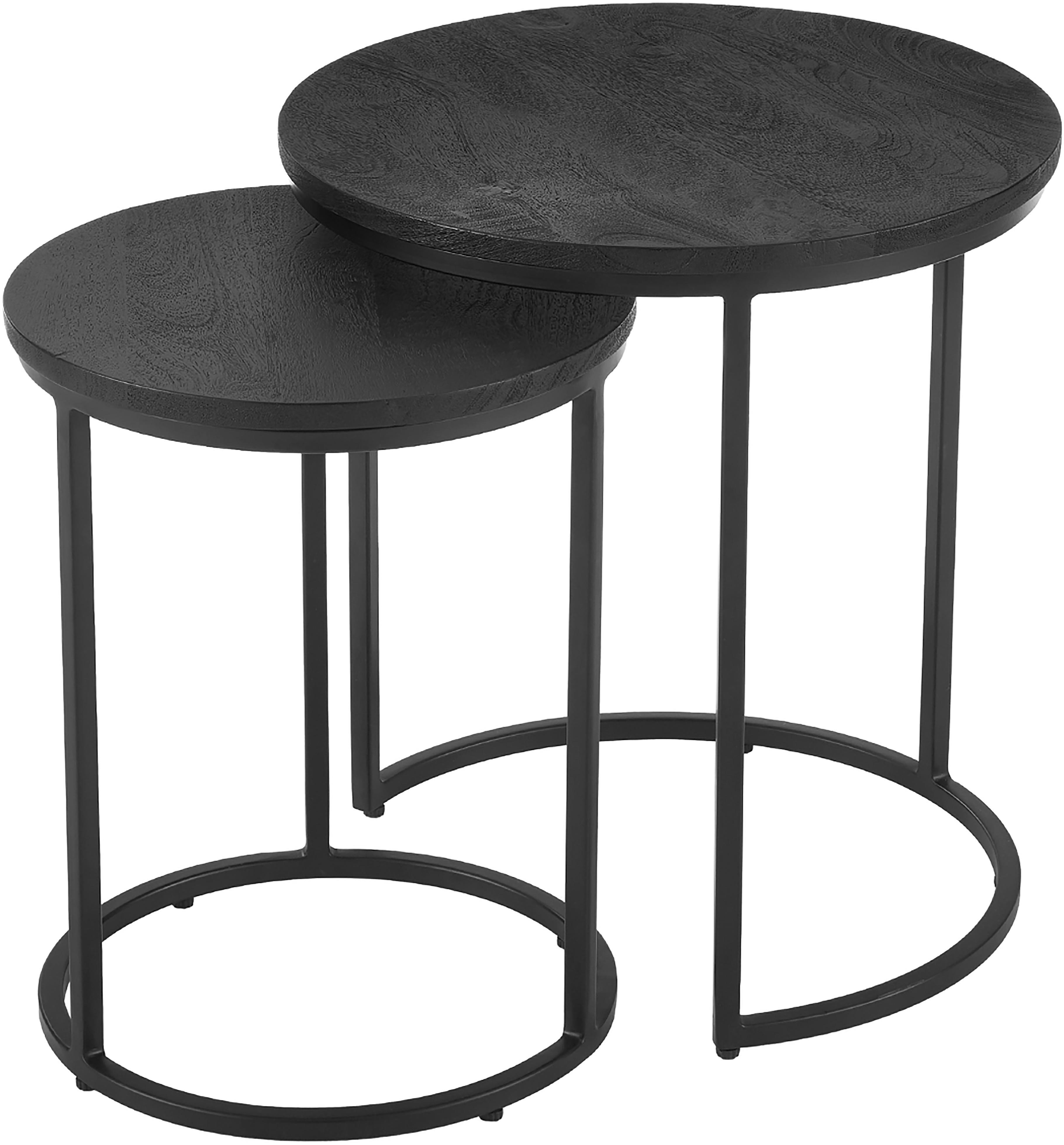 Komplet stolików pomocniczych Andrew, 2 elem., Blat: lite drewno mangowe, szcz, Stelaż: metal malowany proszkowo, Blaty stołów: drewno mangowe, czarny lakierowany Stelaż: czarny, matowy, Komplet z różnymi rozmiarami