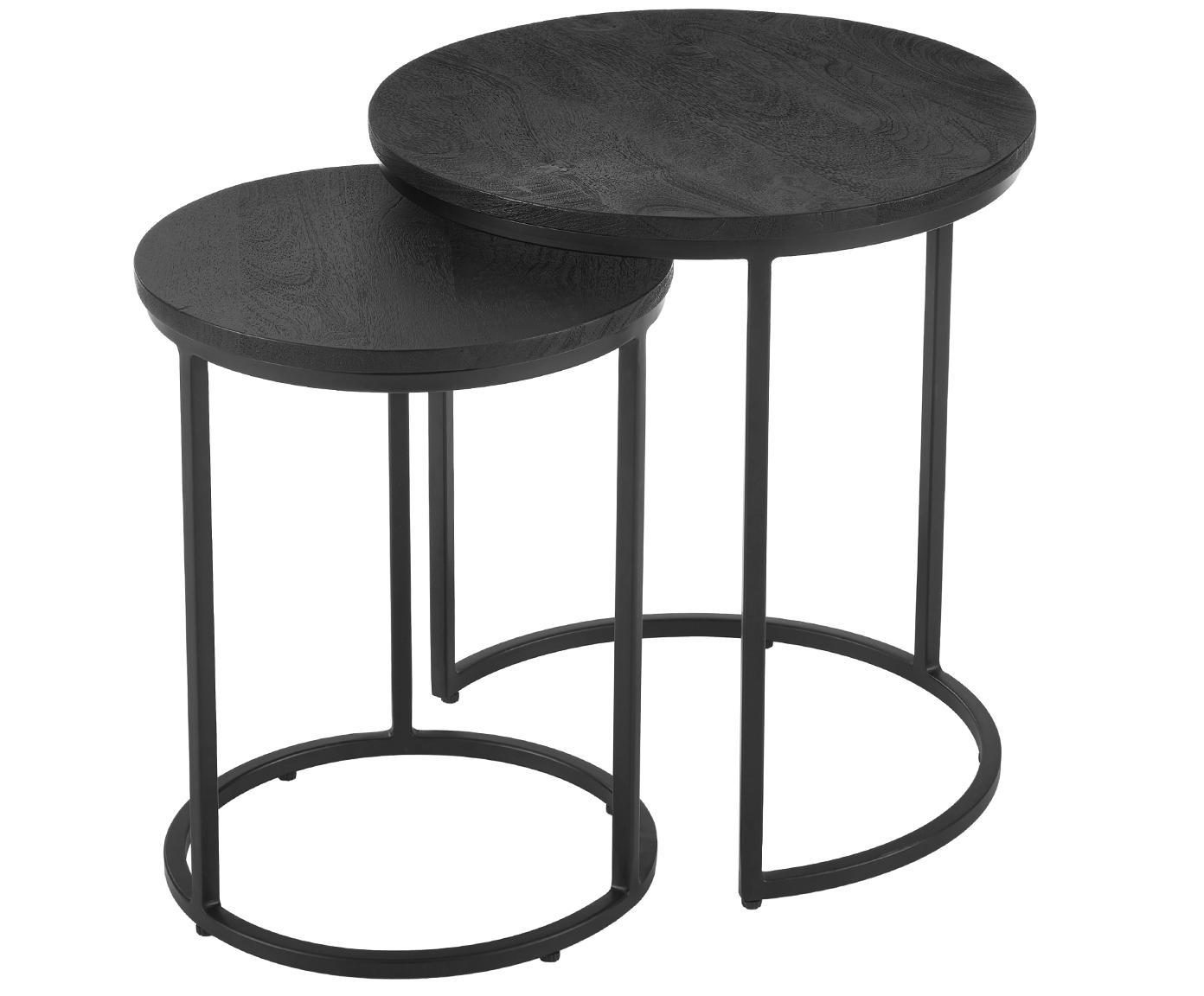 Set 2 tavolini rotondi neri Andrew, Struttura: metallo verniciato a polv, Ripiani: legno di mango, nero verniciato Struttura: nero opaco, Diverse dimensioni