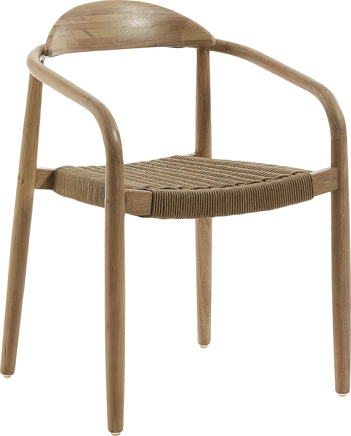 Krzesło z litego drewna z podłokietnikami Nina, Stelaż: lite drewno eukaliptusowe, Brązowy, S 56 x G 53 cm