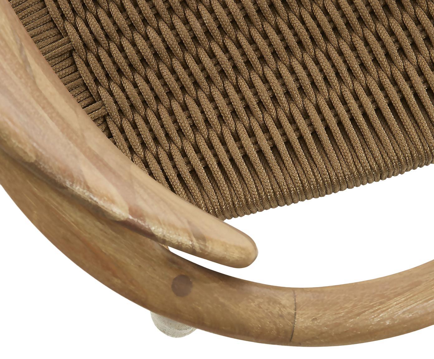 Armstoel Nina van hout, Frame: massief eucalyptushout, Zitvlak: polyestertouw, Beige, eucalyptushoutkleurig, 56 x 53 cm