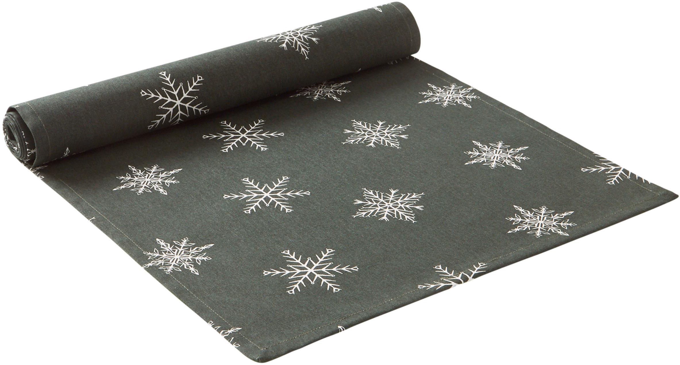 Bieżnik Snow, 100% bawełna pochodząca ze zrównoważonych upraw, Zielony, biały, D 40 x S 140 cm