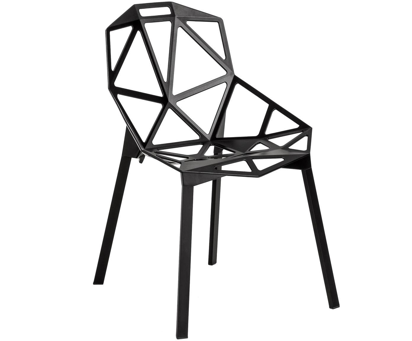 Sedia di design Chair One, Alluminio, pressofuso, poliestere verniciato, Nero, Larg. 55 x Prof. 59 cm