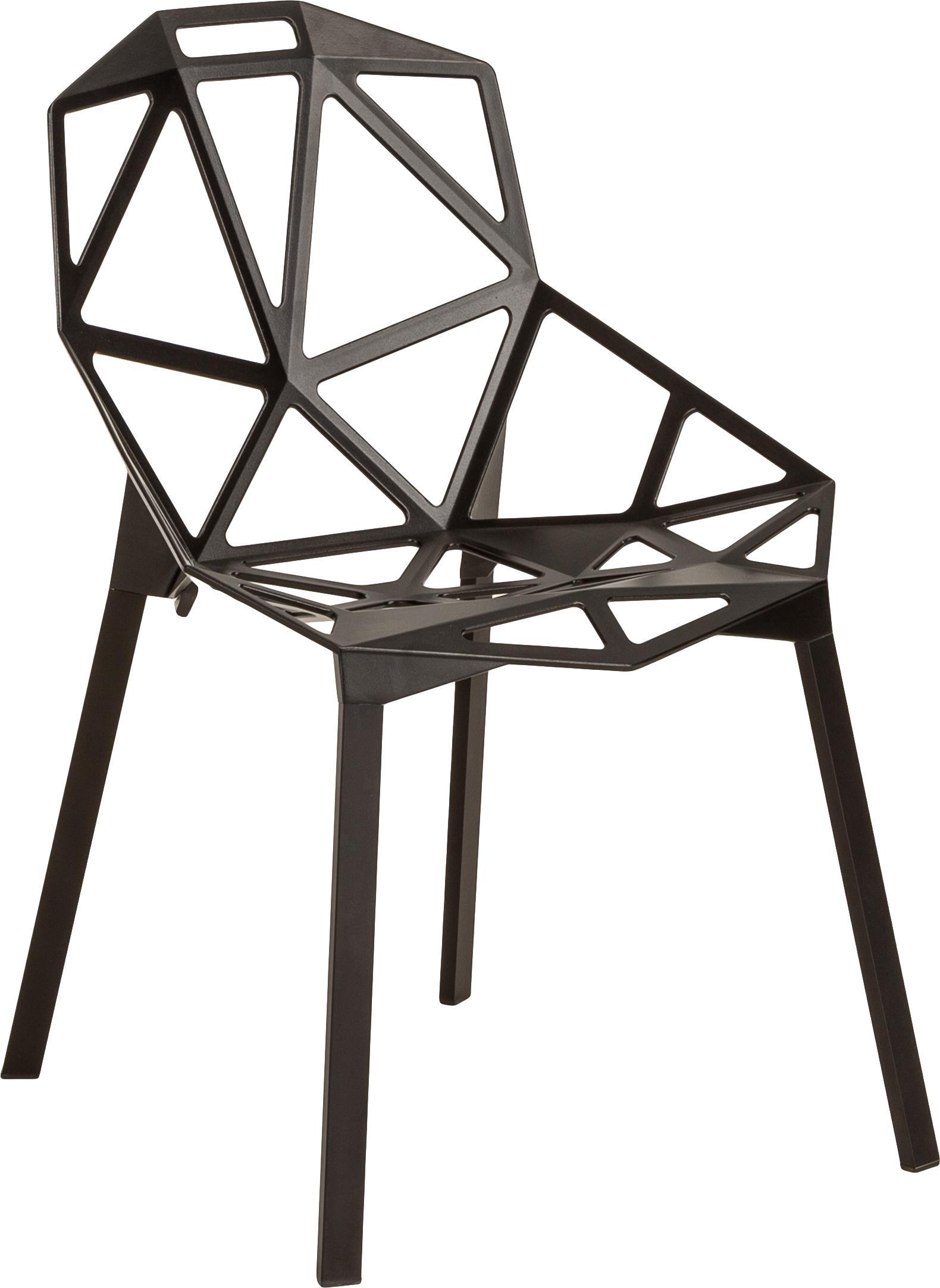 Krzesło z metalu Chair One, Aluminium z odlewu, lakierowane farbą poliestrową, Czarny, S 55 x W 82 cm